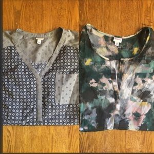 EUC Bundle of 2 Merona Popover Tunic Blouses | L